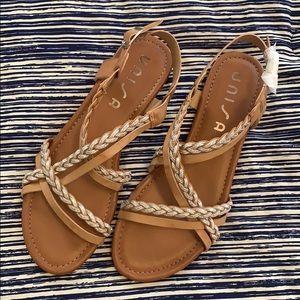 NWOT Francesca's Brown Metallic Sandals